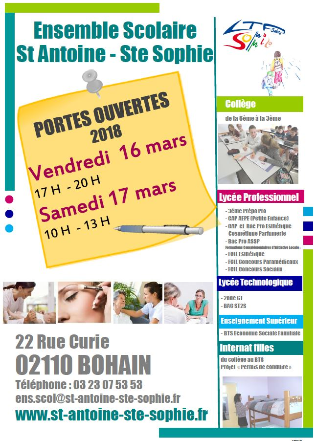 Portes Ouverte - Saint Antoine Sainte Sophie BOHAIN - Mars 2018
